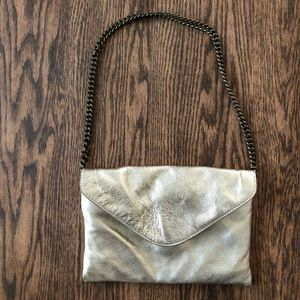 J. Crew envelope leather gold clutch w chain